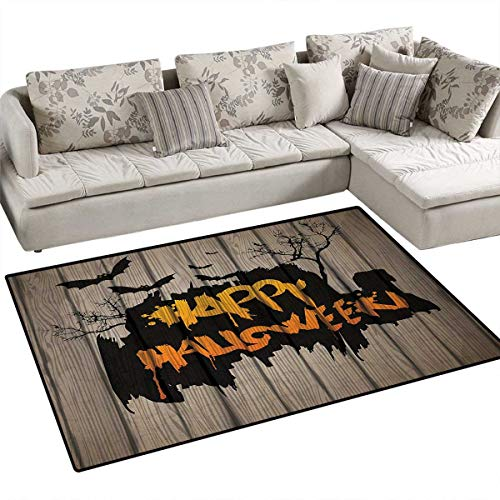 Halloween,Carpet,Happy Graffiti Style Lettering on Rustic Wooden Fence Scary Evil Holiday Artwork,Non Slip Rugs,Multicolor,36