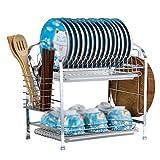 AJZGF Two-Story Kitchen Rack Two-Tier dishwashing Rack high-end Chopsticks Rack (42x25x38cm) Shelf