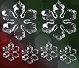Clear Acrylic Snowflake Ornament Set - Pack of 6 Snowflakes with Strings Attached - Ornaments for Tree - Package Embellishments - Snowflake Window Decorations