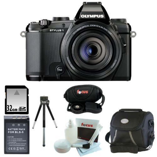 Olympus Stylus 1 12 MP Digital Camera with 10.7X f2.8 Zoom Lens and 32GB Deluxe Accessory Kit