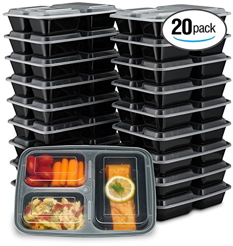 EZ Prepa [20 Pack] 32oz 3 Compartment Meal Prep Containers with Lids - Durable BPA Free Plastic Reusable Food Storage Container - Stackable, Reusable, Leak Resistant, Microwaveable & Dishwasher Safe