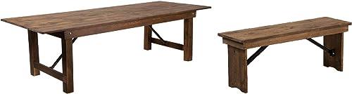 Flash Furniture Hercules Series 9' x 40″ Rectangular Antique Rustic Solid Pine Folding Farm Table Hercules Series 40'' x 12'' Antique Rustic Solid Pine Folding Farm Bench