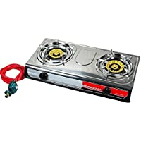 Portable Propane Gas Stove DOUBLE 2 Burner CAMPING TAIL GATE Tailgating Stoves Camping Gxfc
