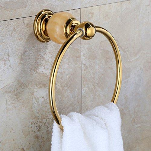 LHbox Tap Natural Yellow Jade Antique-Brass Gold Towel Ring Bath Towel Rack Bath Towel Hook, Titanium Gold