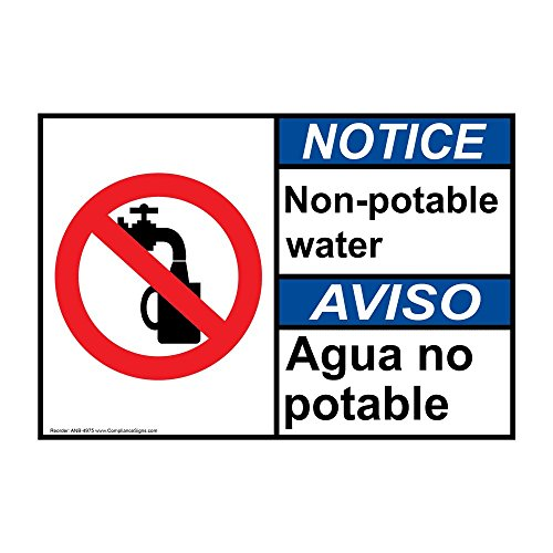 Notice Non - Potable Water ANSI Bilingual Label Decal with Symbol, 5x3.5 in. 4-Pack Vinyl for Facilities by ComplianceSigns