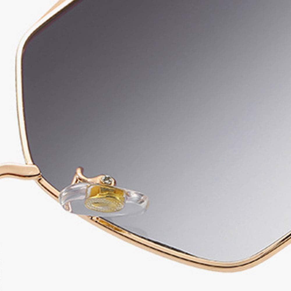 Lunettes de soleil pour femmes, monture en métal Flat Mirrored Lens Fashion Womens Sunglasses Polarized, Dark grey Gris Foncé