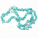 "AAA Natural Turquoise Howlite Gemstones Smooth Chips Beads Free-form Loose Beads ~8x5mm beads for Jewelry Making (1 strand, ~16"") GZ1-5"