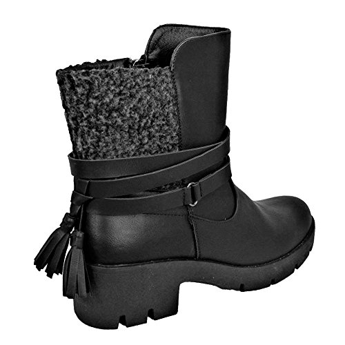 Ladies 4 786 Ankle Chelsea Tassel Aaishaz Heel Black Shoe Low Boots CW17077 Chunky UK Winter Party Sexy U4xwdxZ