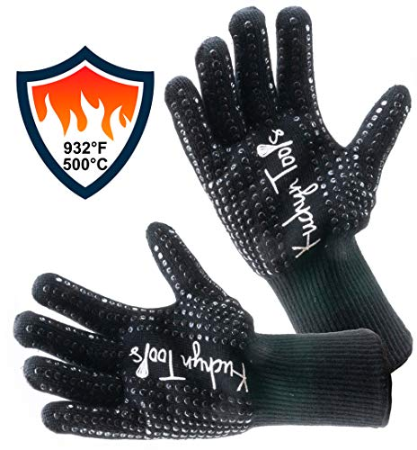 Kuchyn Tools Non-Slip Extreme Heat Resistant (932°F/500°C) BBQ Gloves, Food Grade Kitchen Oven Mitts - Use for Grilling, Cutting, Baking, Pot/Iron Cast Holders (1 - Mitt Holder Pot Oven 1