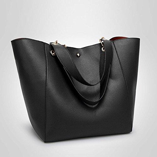 Donna Semplicemente Tote Bag Pelle Shopper Borse A Mano Borse a Tracolla Nero