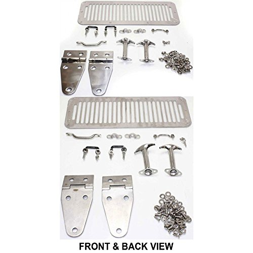 Evan-Fischer EVA19972027042 Hood Hinge for Jeep CJ Series 78-86 Yj 87-95 Set Incl. Hood Vent Footman Loops and Windshield Tie Down Left and Right Side - Incl Hinges