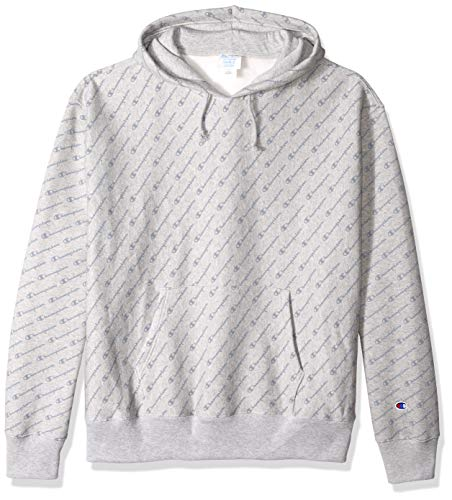 Champion LIFE Men's Reverse Weave Pullover Hood-Print, Diagonal Tonal Script Oxford Grey, - Print Oxfords T-shirt