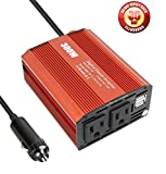 300W Dual 110V AC Outlets Power Inverter Car DC 12V to 110V AC Car Inverter with Dual USB Charging Ports