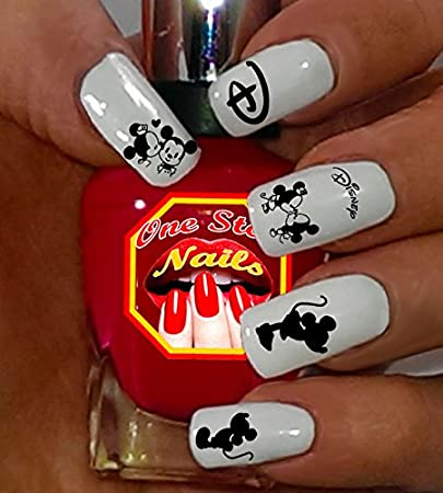 60ddde90820bf Amazon.com: Minnie Mouse and Mickey Mouse Black and White Nail Art Decals.  Tattoo Nail Decal Set of 58 by One Stop Nails: Beauty