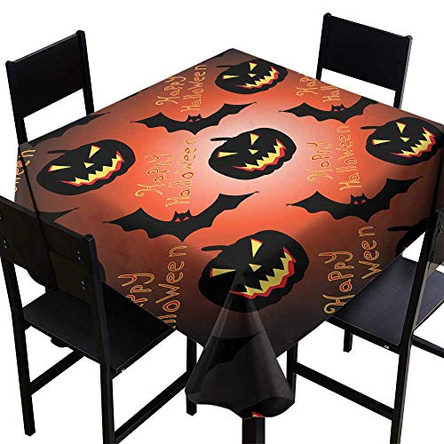 crabee Waterproof tablecloths Halloween Seamless Vector Pattern Background Wallpaper,W60 x L60 Square Tablecloth
