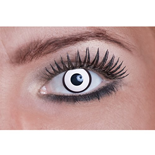 Eyecatcher Color Fun - Farbige Kontaktlinsen - White Manson - 2 Stück (1 Paar) - Ideal für Karneval, Fasching, Halloween and Party, 1er Pack (1 x 2 Stück)