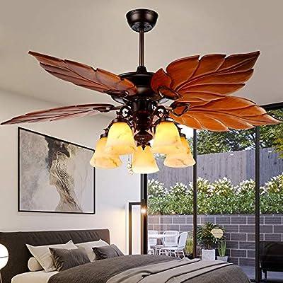 52 Inch Tropical Ceiling Fan Light Wooden Palm Leaf Blades Fan Light Indoor Quiet Ceiling Fan Chandelier Home Remote Rustic Ceiling Fan Bronze
