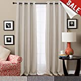 Thermal Insulated Faux Linen Room Darkening Curtains for Bedroom 63 inch Long Moderate Blackout Curtain (Beige, One Panel)