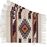 Place Mats, Hand Woven Wool in Southwest, Mexican, and Native American Styles. Hand Crafted set of 4 Placemats. (Cream Gold Diamond K)