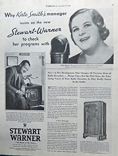 Stewart Warner Radio. Print ad. 30's Illustration. Fantastic, scarce old ad.(Kate Smith) Original 1933 Collier's Magazine Art (Warner Stewart Radio)