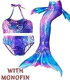 4Pcs Girl's Mermaid Tails Swimsuit Bikini Set Princess Swimming Bathing Suits Swimwear(Support Monofin) (Youth XX-Large (fits Like 10-12), B Aurora Magic+Monofin)