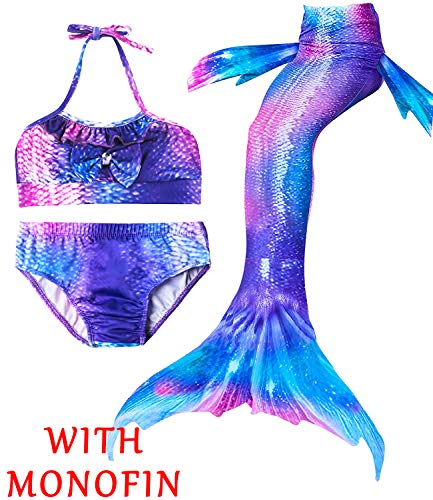 4Pcs Girl's Mermaid Tails Swimsuit Bikini Set Princess Swimming Bathing Suits Swimwear(Support Monofin) (Youth XX-Large (fits Like 10-12), B Aurora Magic+Monofin) ()