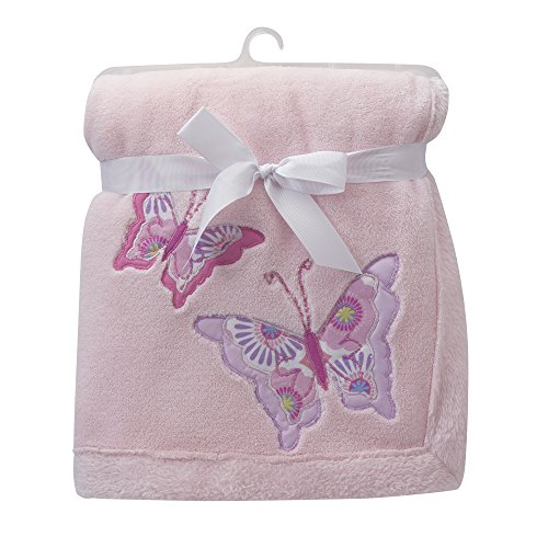 - Lambs & Ivy Happi by Dena Butterfly Garden Blanket, Pink