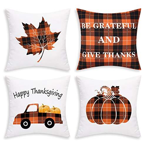 BLEUM CADE Thanksgiving Day Throw Pillow Covers Autumn Pumpkin Pillow Covers Fall Harvest Pillow Cases Cushion Covers Zippered Pillowcase Holiday Decorative Pillow Covers (Pillows Cheap Holiday)