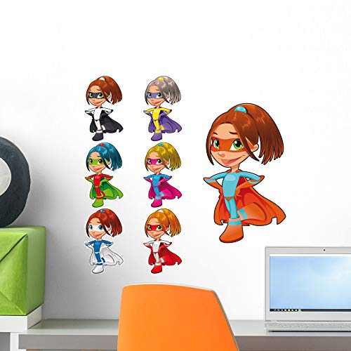 Wallmonkeys Young Female Superheroes Wall Decal Sticker Set Peel and Stick Decals for Girls (18 in W x 18 in H) WM50918 ()