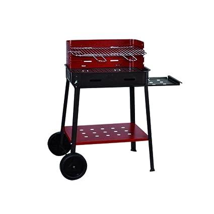 Barbacoa a carbón Flavia de hierro barnizado. Con ruedas y estante lateral.