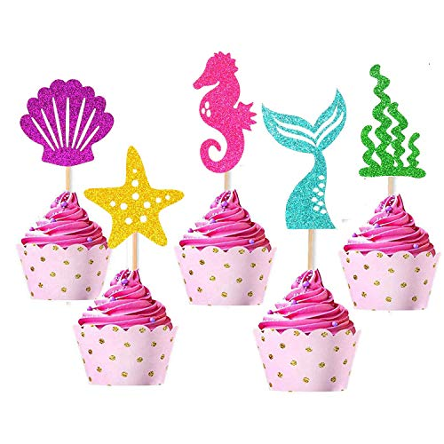 Mermaid Cupcake Toppers Food Fruit Picks Decor Glitter Party Favors Supplies Decorations for Birthday Party 25 Packs