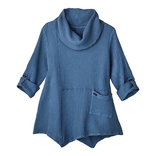 FOCUS FASHIONS Women's Tunic Top - Lightweight Waffle-Weave Roll-Tab Sleeve Shirt - Denim - XL