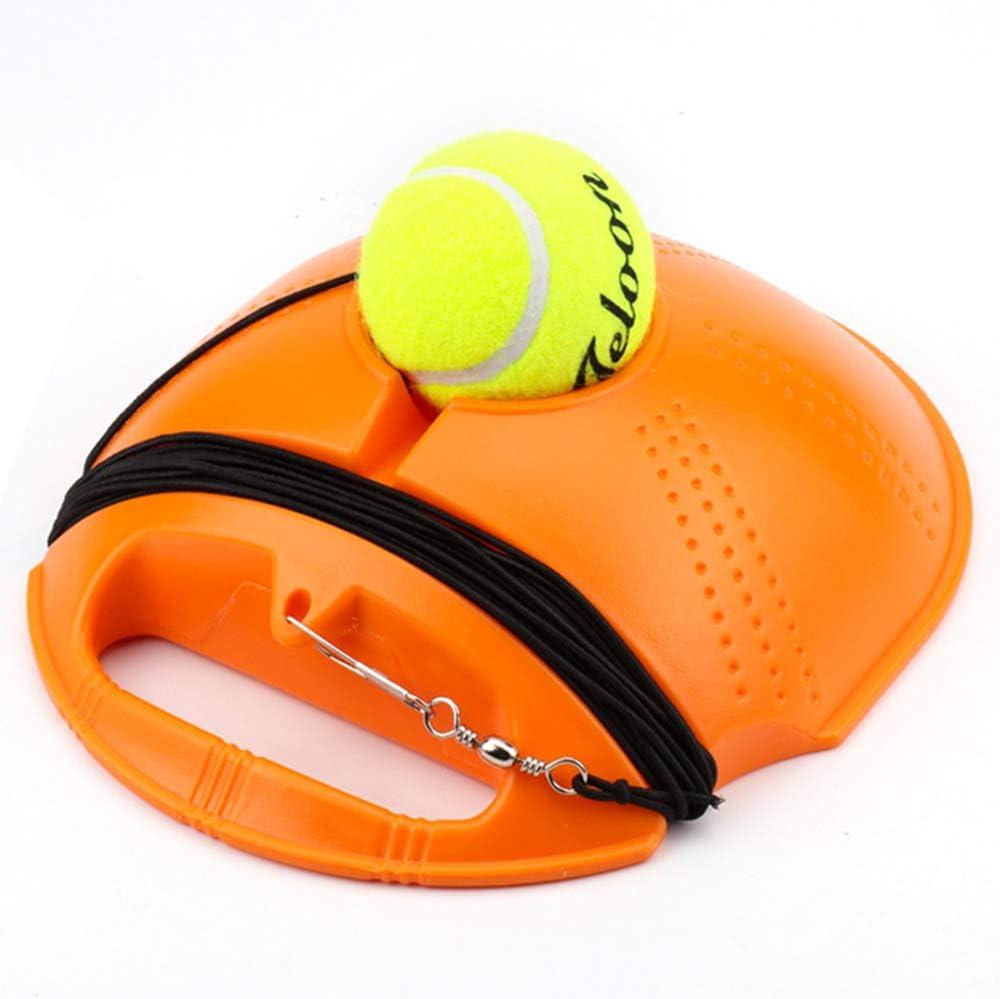 Base de Tenis Portatil,Entrenador de Pelota de Tenis,Auto PráCtica Juego de Rebote Tenis Base,con Cuerda EláStica de Goma,PráCtica de Una Sola Persona,Antideslizante,Estable,Naranja