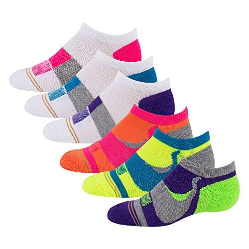 Gold Toe Girls' Big 6 Pack Athletic Swirl Liner, Multi, Medium