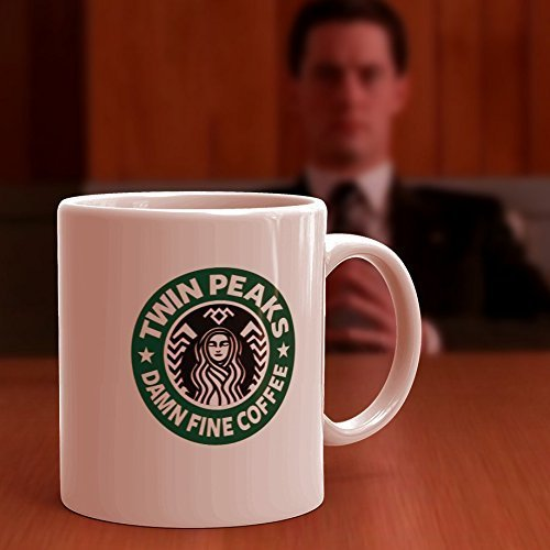 Twin Peaks, Starbucks Coffee Mug / Cup. Damn Fine Coffee quote from Dale Cooper, Laura Palmer, wrapped in plastic, and Black Lodge symbol at top.