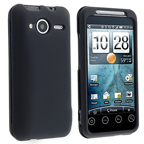 Black Rubberized Snap-On Hard Skin Case Cover for HTC Sprint EVO Shift 4G Phone New By Electromaster