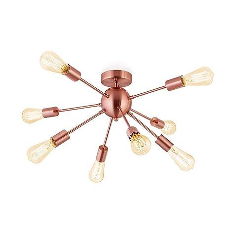 Luz colgante de oro rosa con 8 luces, lámpara de araña ...