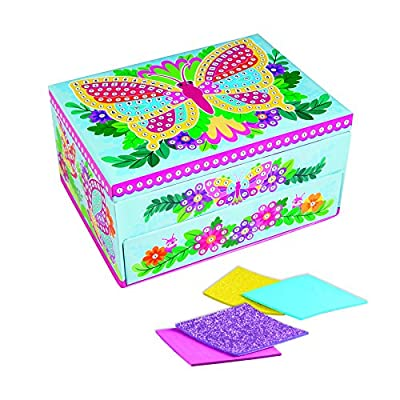 Orb The Factory Sticky Mosaics Butterfly Jewelry Box, Blue/Pink/Purple/Yellow, 8.26 X 4.37 X 6.37: Toys & Games
