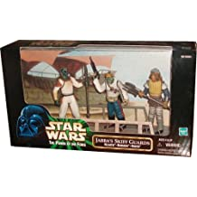 Kenner Star Wars 1998 The Power of The Force 3-Pack Movie Scene 4 Inch Tall Action Figure Set - Jabba's Skiff Guards with Klaatu, Barada and Nikto Figures Plus Display Base