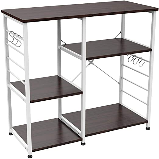 Yaheetech 35.5 inches Microwave Cart Kitchen Bakers Rack Utility Oven Stand Shelf Storage Cart 3-Tier Workstation
