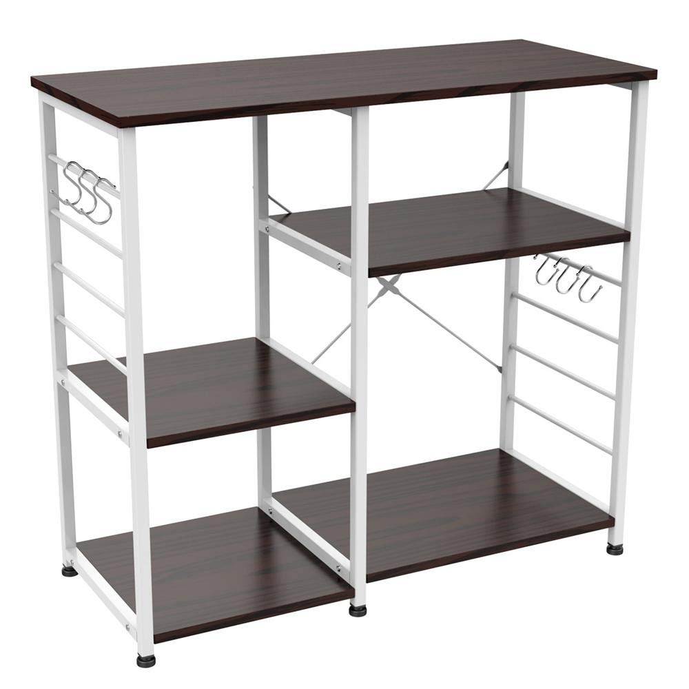 Yaheetech 35.5 inches Microwave Cart Kitchen Bakers Rack Utility Oven Stand Shelf Storage Cart 3-Tier