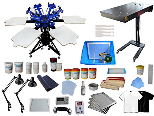 6 Color 6 Station Screen Printing Kit Flash Dryer Double Rotating Screen Printing Press wih Full Material Supply by Screen Printing Kit