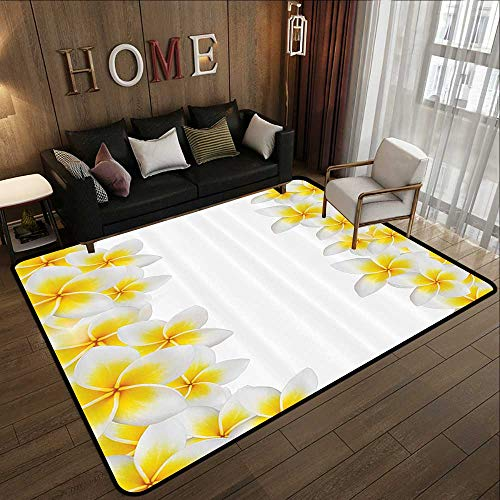 Bath Rugs,Hawaiian Decorations Collection,Frangipani Blossom Exotic Nature Garden Plumeria Flower Frame Relaxation Image,Yellow Wh 78.7