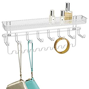InterDesign Classico Fashion Jewelry Organizer for Rings, Earrings, Bracelets, Necklaces - Wall Mount, White
