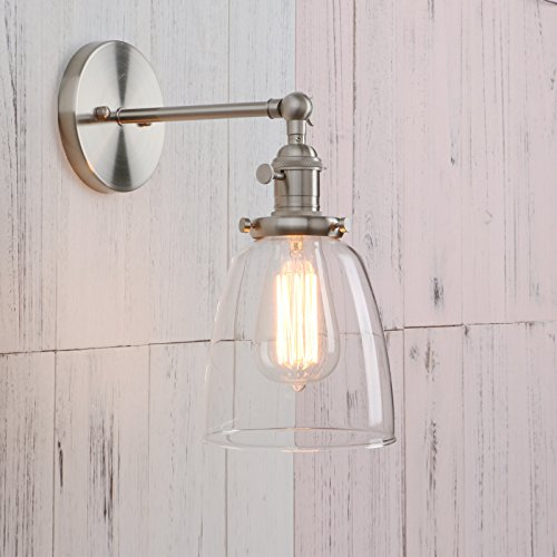 Permo Industrial Vintage Single Sconce With Oval Cone Clear Glass Shade 1-light Wall Sconce Wall Lamp (1 Light Halogen Wall Lamp)