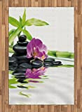 Ambesonne Spa Area Rug, Asian Relaxation Ways with Zen Massage Stones Purple Orchid and a Bamboo, Flat Woven Accent Rug for Living Room Bedroom Dining Room, 4 X 5.7 FT, Purple Black and Green