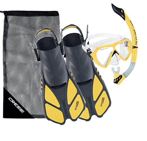 Cressi Bonete Bag Light Weight Travel Fun Snorkeling Set, Yellow, Large/X-Large