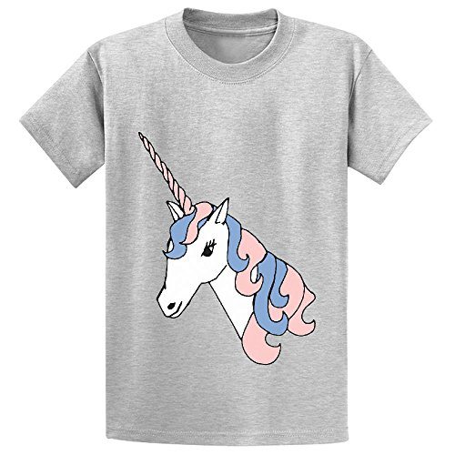 Likeu Unicorn White Cute Child Print Crew Neck T Shirt (Sassy Jersey Dress)