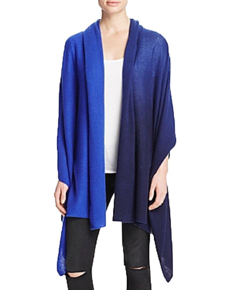 AQUA Cashmere Tie Dye Travel Cashmere Wrap (Cobalt, OS)