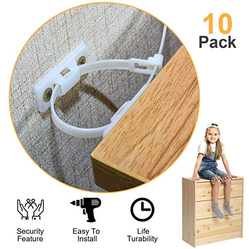Furniture Straps,(10-Pack)Wall Anchor, Furniture Anchors for Baby Proofing Safety, Anti Tip Furniture Kit, Furniture Wall Straps, Bearing 132Ib, Nylon Straps
